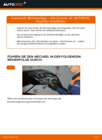 Wie der Wechsel durchführt wird: Bremsbeläge 2.5 CRDi KIA Sorento JC tauschen