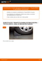 Como mudar tirante da barra estabilizadora da parte dianteira em Toyota RAV4 II - guia de substituição