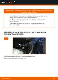 Wie der Wechsel durchführt wird: Bremsbeläge A 180 CDI 2.0 (169.007, 169.307) Mercedes W169 tauschen