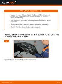 How to carry out replacement: Brake Discs on 2.5 CRDi KIA Sorento jc