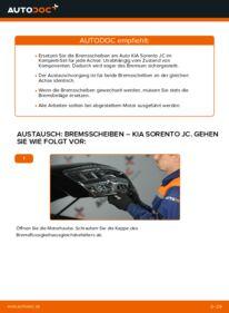 Wie der Wechsel durchführt wird: Bremsscheiben 2.5 CRDi KIA Sorento JC tauschen