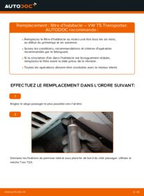 Comment effectuer un remplacement de Filtre d'Habitacle sur 2.5 TDI VW Transporter T5