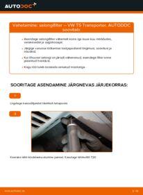 Kuidas välja vahetamist läbi viia: 2.5 TDI VW T5 Van Salongifilter