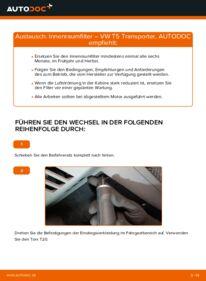 Wie der Wechsel durchführt wird: Innenraumfilter 2.5 TDI VW T5 Kasten tauschen