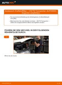 Wie der Wechsel durchführt wird: Kraftstofffilter 2.5 TDI VW T5 Kasten tauschen