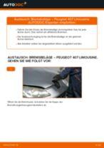 PEUGEOT 407 (6D_) Scheibenbremsbeläge: Online-Handbuch zum Selbstwechsel
