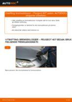Hvordan bytte og justere Bremsekloss PEUGEOT 407: pdf håndbøker