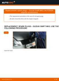 How to carry out replacement: Spark Plug on 1.3 (RS 413) SUZUKI SWIFT III (MZ, EZ)