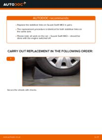 How to carry out replacement: Anti Roll Bar Links on 1.3 (RS 413) SUZUKI SWIFT III (MZ, EZ)