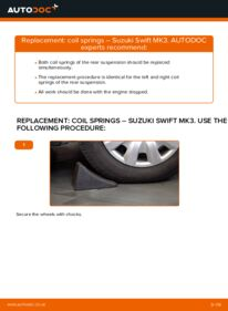 How to carry out replacement: Springs on 1.3 (RS 413) SUZUKI SWIFT III (MZ, EZ)