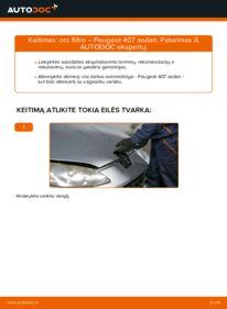 Kaip atlikti keitimą: 2.0 HDi 135 Peugeot 407 Sedan Oro filtras