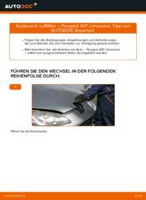 Wie der Wechsel durchführt wird: Luftfilter 2.0 HDi 135 Peugeot 407 Limousine tauschen