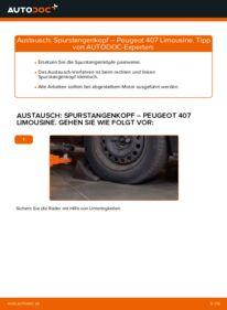 Wie der Wechsel durchführt wird: Spurstangenkopf 2.0 HDi 135 Peugeot 407 Limousine tauschen
