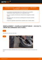Comment changer : coupelle d'amortisseur avant sur VW Golf 5 - Guide de remplacement