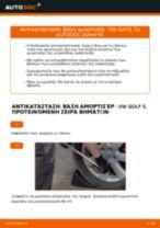 Πώς να αλλάξετε βάση αμορτισέρ εμπρός σε VW Golf 5 - Οδηγίες αντικατάστασης