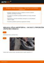 Kako zamenjati avtodel ležaj amortizerja spredaj na avtu VW Golf 5 – vodnik menjave