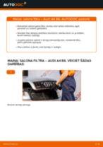 Tiešsaistes rokasgrāmata, kā pašam mainīt Degvielas filtrs uz AUDI A4 (8E2, B6)