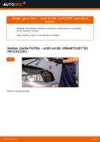 Kā nomainīt un noregulēt Gaisa filtrs AUDI A4: pdf ceļvedis
