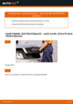 Online käsiraamat Süüteküünal iseseisva asendamise kohta AUDI A4 (8E2, B6)