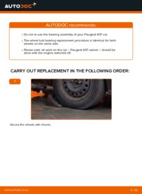 How to carry out replacement: Wheel Bearing on 2.0 HDi 135 Peugeot 407 Saloon