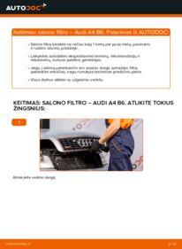 Kaip atlikti keitimą: 1.9 TDI Audi A4 b6 Oro filtras, keleivio vieta