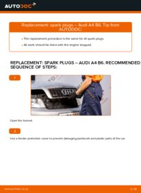 How to carry out replacement: Spark Plug on 1.9 TDI Audi A4 b6
