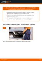 Como mudar pastilhas de travão da parte traseira em Audi A4 B6 - guia de substituição