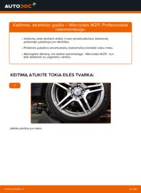 Kaip atlikti keitimą: E 220 CDI 2.2 (211.006) Mercedes W211 Amortizatoriaus Atraminis Guolis