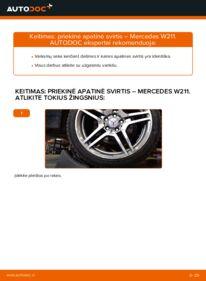 Kaip atlikti keitimą: E 220 CDI 2.2 (211.006) Mercedes W211 Vikšro Valdymo Svirtis