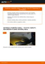 Kaip pakeisti Toyota Yaris P1 stabdžių diskų: priekis - keitimo instrukcija