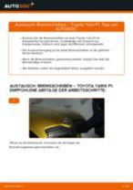 Wechseln von Seilzug Feststellbremse Instruktion PDF für TOYOTA YARIS