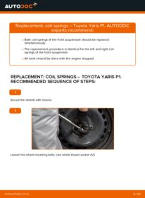 How to carry out replacement: Springs on 1.0 (SCP10_) Toyota Yaris p1