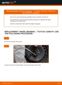 How to carry out replacement: Wheel Bearing on 1.0 (SCP10_) Toyota Yaris p1