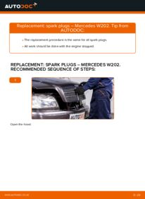 How to carry out replacement: Spark Plug on C 180 1.8 (202.018) Mercedes W202
