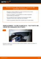 Comment changer : filtre d'habitacle sur Fiat Punto 188 diesel - Guide de remplacement