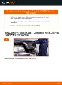 How to carry out replacement: Brake Pads on C 180 1.8 (202.018) Mercedes W202