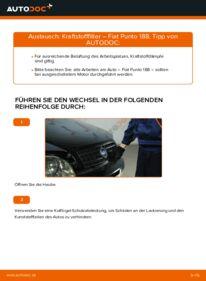 Wie der Wechsel durchführt wird: Kraftstofffilter 1.2 60 Fiat Punto 188 tauschen