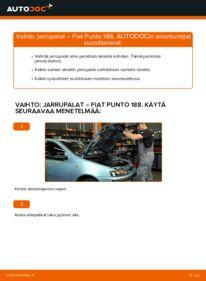Kuinka vaihtaa Jarrupalat 1.2 60 Fiat Punto 188 -autoon