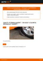 Kuinka vaihtaa pyöränlaakerit eteen VW Golf 4-autoon – vaihto-ohje