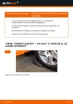 Hátsó toronycsapágy-csere VW Golf 4 gépkocsin – Útmutató