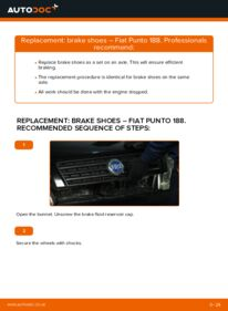 How to carry out replacement: Brake Shoes on 1.2 60 Fiat Punto 188