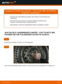 Wie der Wechsel durchführt wird: Radbremszylinder Fiat Punto 188 1.2 60 1.2 16V 80 1.3 JTD 16V tauschen
