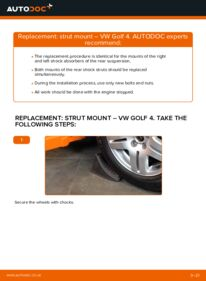 How to carry out replacement: Strut Mount on 1.4 16V Golf 4