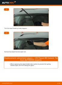 How to carry out replacement: Wiper Blades on 1.9 TDI Passat 3B6