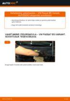 Kuidas vahetada VW Passat B5 Variant bensiin taga-pidurisadula – õpetus