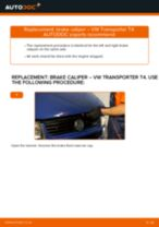 How to replace and adjust Brake caliper VW TRANSPORTER: pdf tutorial
