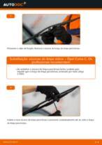 Como mudar escovas do limpa vidros da parte dianteira em Opel Corsa C gasolina - guia de substituição