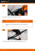 Montavimo Stiklo valytuvai OPEL CORSA C (F08, F68) - žingsnis po žingsnio instrukcijos