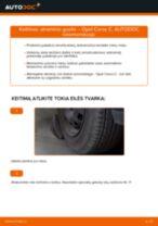 Kaip pakeisti Opel Corsa C benzinas atraminio guolio: priekis - keitimo instrukcija