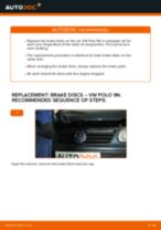 How to change Brake discs and rotors rear and front on VW POLO (9N_) - manual online